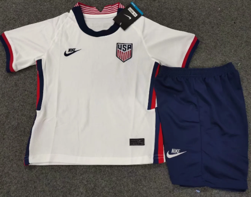 USA 2020 Kids Home Soccer Jersey and Short Kit