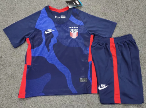 USA 2020 Kids Away Soccer Jersey and Short Kit