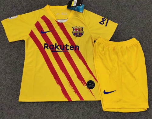 Barcelona 19/20 Kids Soccer Jersey and Short Kit - Yellow