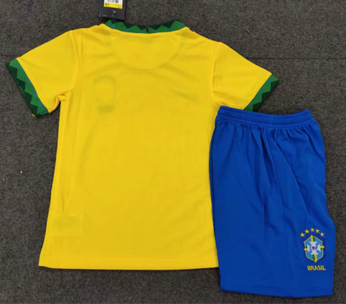 Brazil 2020 Kids Home Soccer Jersey and Short Kit