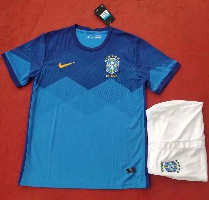 Brazil 2020 Away Soccer Jersey and Short Kit