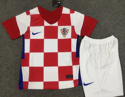 Croatia 2020 Kids Home Soccer Jersey and Short Kit