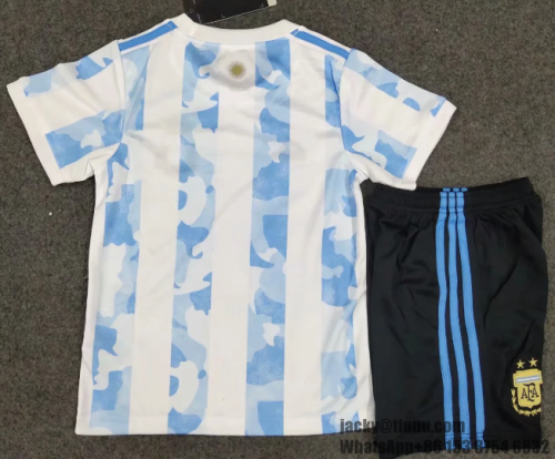 Argentina 2020 Kids Home Soccer Jersey and Short Kit
