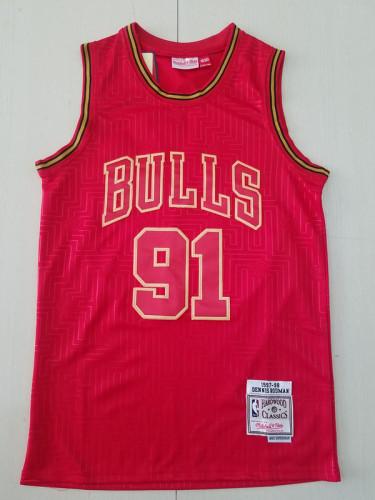 Chicago Bulls 1997-98 Dennis Rodman 91 Red Throwback Classics Jerseys