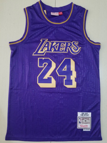Los Angeles Lakers Kobe Bryant 24 Purple Throwback Classics Basketball Jerseys