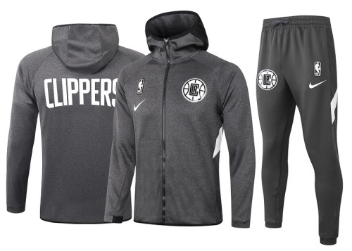Los Angeles Clippers Gray Full-Zip trake Hoodie Jacket and Pants H018