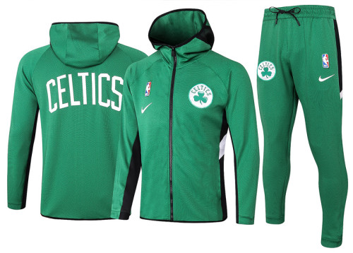 Boston Celtics Green Full-Zip trake Hoodie Jacket and Pants H008
