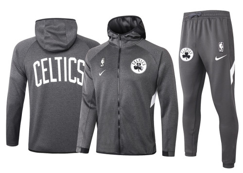 Boston Celtics Gray Full-Zip trake Hoodie Jacket and Pants H011