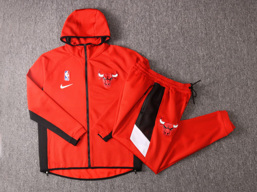 Chicago Bulls Red Full-Zip trake Hoodie Jacket and Pants H013