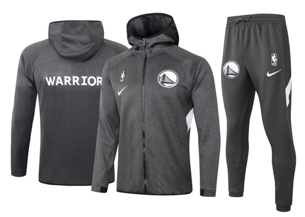 Golden State Warriors Gray Full-Zip trake Hoodie Jacket and Pants H019