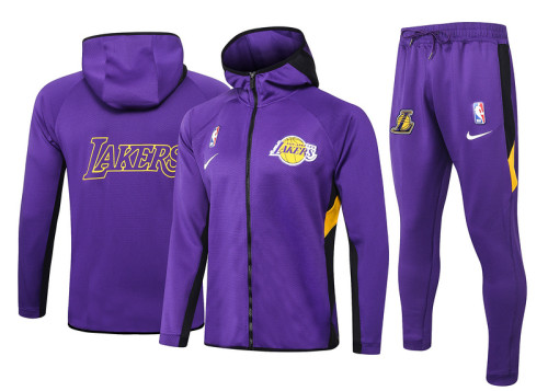 Los Angeles Lakers Purple Full-Zip Trake Hoodie Jacket and Pants H004