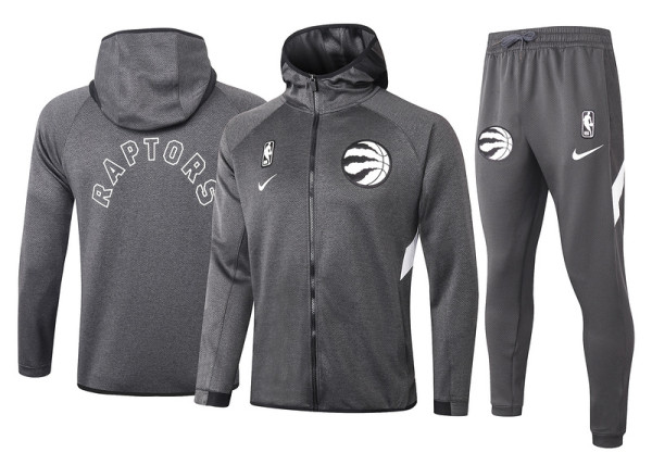 Toronto Raptors Gray Full-Zip trake Hoodie Jacket and Pants H015