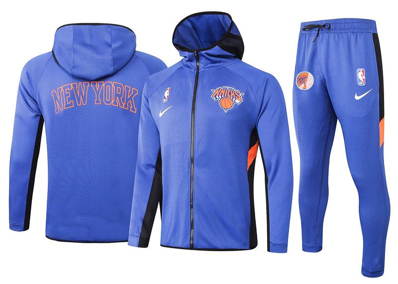 New York Knicks Blue Full-Zip trake Hoodie Jacket and Pants H023