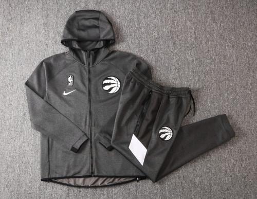 Toronto Raptors Gray Full-Zip trake Hoodie Jacket and Pants H015