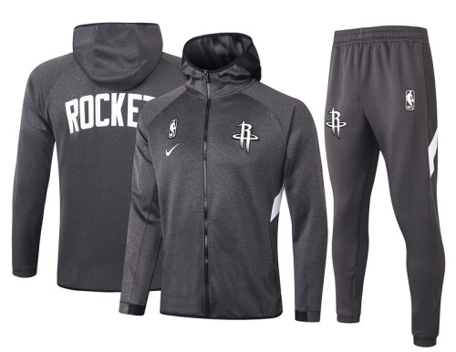 Houston Rockets Gray Full-Zip Trake Hoodie Jacket and Pants H001