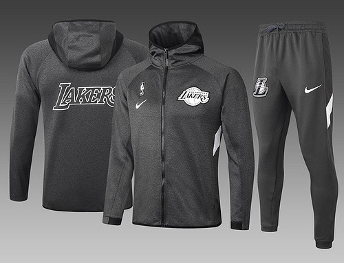 Los Angeles Lakers Gray Full-Zip Trake Hoodie Jacket and Pants H003