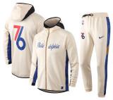 Philadelphia 76ers Khaki Full-Zip trake Hoodie Jacket and Pants H016