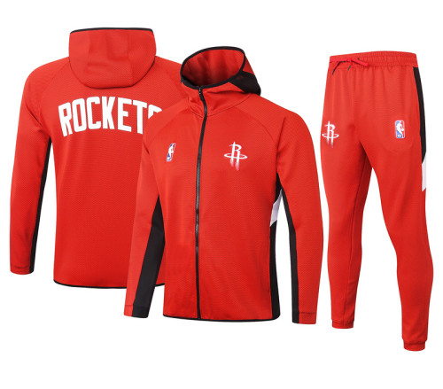 Houston Rockets Red Full-Zip Trake Hoodie Jacket and Pants H002