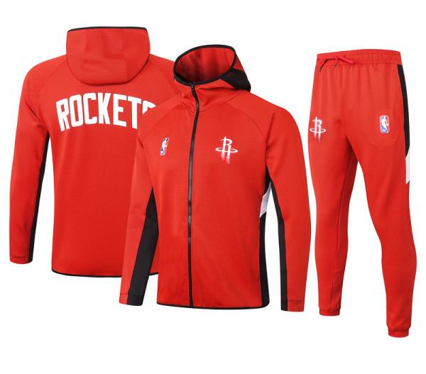 Houston Rockets Red Full-Zip Trake Hoodie Jacket and Pants H002