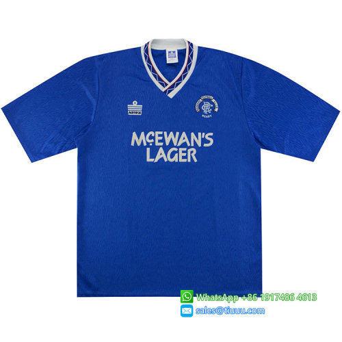 Rangers 1990-1992 Home Retro Soccer Jersey