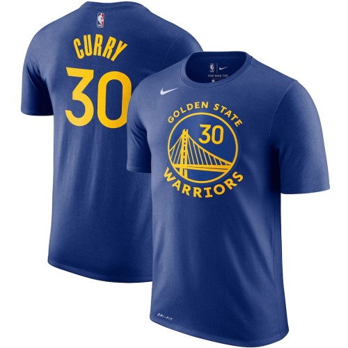 Men's Golden State Warriors Stephen Curry Royal Player Name & Number Performance T-Shirt