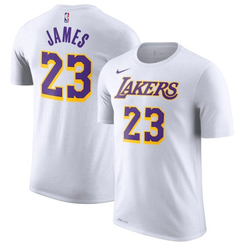 Men's Los Angeles Lakers LeBron James White Association Edition Name & Number Performance T-Shirt