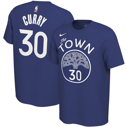 Men's Golden State Warriors Stephen Curry Blue City Edition Variant Name & Number T-Shirt