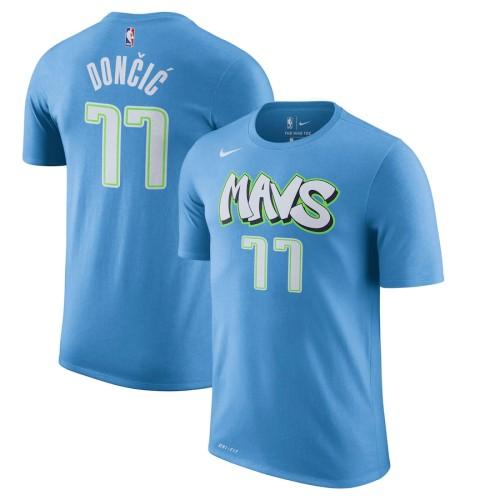 Men's Dallas Mavericks Luka Doncic Blue City Edition Name & Number T-Shirt