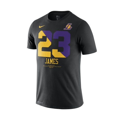 Men's Los Angeles Lakers LeBron James Black City Edition Name & Number Performance T-Shirt