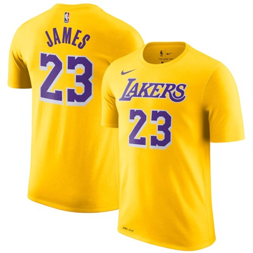 Men's Los Angeles Lakers LeBron James Gold Icon Edition Name & Number Performance T-Shirt