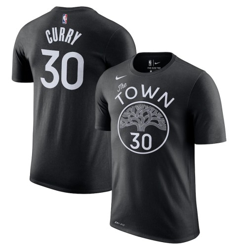 Men's Golden State Warriors Stephen Curry Black City Edition Name & Number T-Shirt