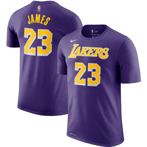 Men's Los Angeles Lakers LeBron James Purple Player Name & Number Performance T-Shirt
