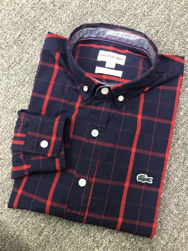 Men's Classics Long Sleeve Navy Red Plaid Shirt