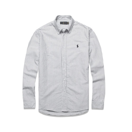Men's Classics Long Sleeve Black White Stripe Shirt