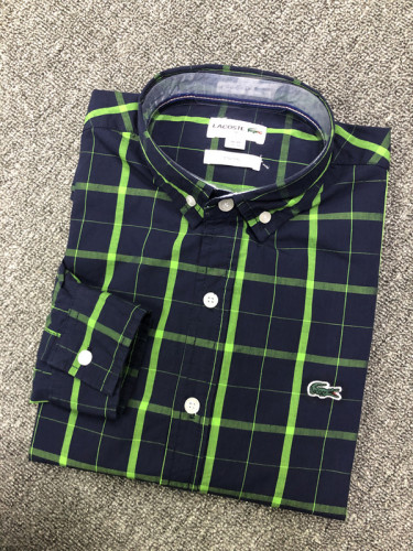 Men's Classics Long Sleeve Navy Green Plaid Shirt