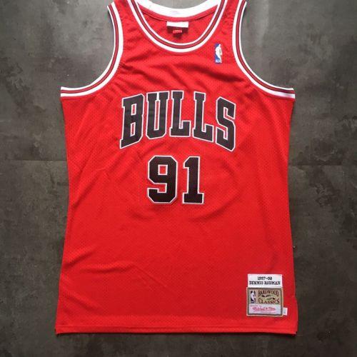 Chicago Bulls Dennis Rodman 91 Red Retro Classics Jersey