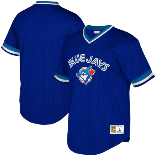 Youth Toronto Blue Jays Throwback Royal Cooperstown Collection Mesh Wordmark V-Neck Jersey