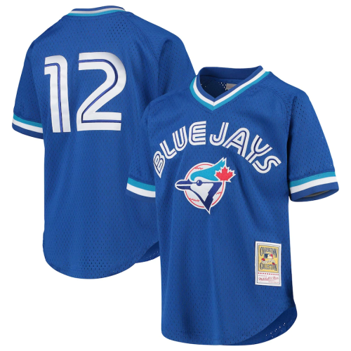 Youth Toronto Blue Jays Roberto Alomar Throwback Royal Cooperstown Collection Mesh Batting Practice Jersey