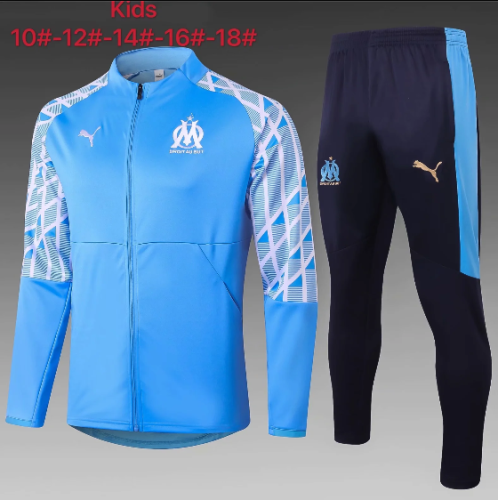 Olympique Marseille 20/21 Kids Jacket and Pants Light Blue - E468