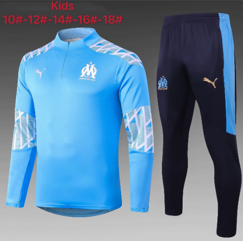 Olympique Marseille 20/21 Kids Soccer Top and Pants Blue-E469