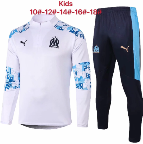 Olympique Marseille 20/21 Kids Soccer Top and Pants White - E462