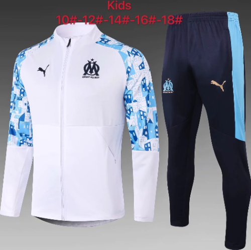 Olympique Marseille 20/21 Kids Jacket and Pants White - E461