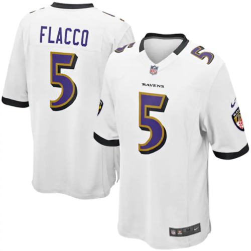 Mens Joe Flacco White Game Team Jersey