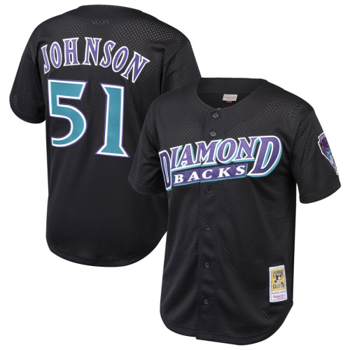 Youth Randy Johnson Throwback Black Cooperstown Collection Mesh Batting Practice Jersey