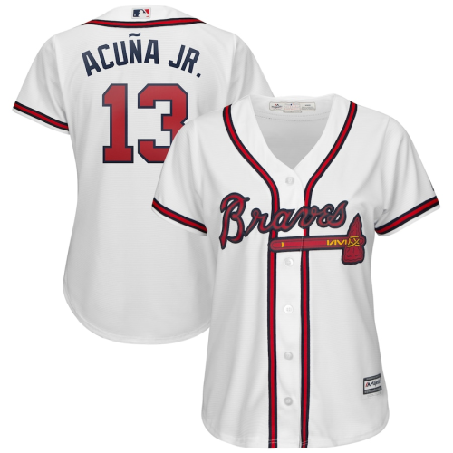 Women's Ronald Acuña Jr. White 2019 Home Cool Base Player Jersey