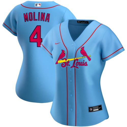 Women's Yadier Molina Light Blue Alternate 2020 Replica Player Jersey