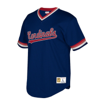 Men's Throwback Navy Cooperstown Collection Mesh Wordmark V-Neck Jersey