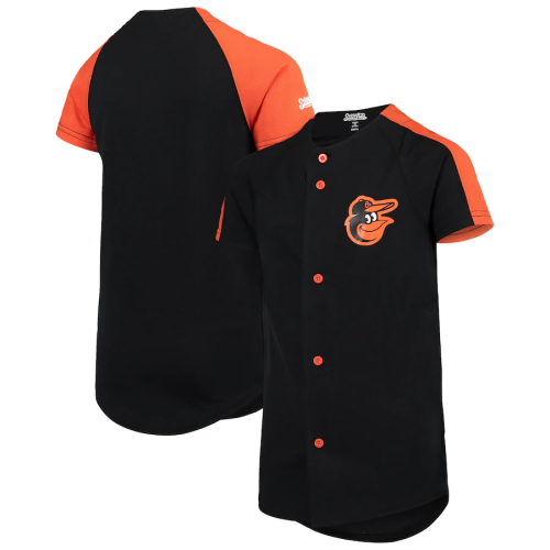 Youth Stitches Black Logo Button-Down Jersey