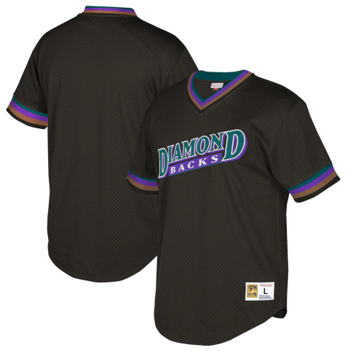 Men's Throwback Black Cooperstown Collection Mesh Wordmark V-Neck Jersey