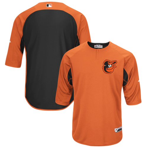 Men's Orange Black Authentic Collection On-Field Three Fouth Sleeve Batting Practice Jersey